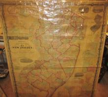 Wall map - topographical map of the State of NJ, 1860. Together with the vicinities of New York and Philadelphia and with most of the state of Delaware