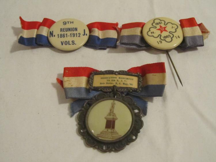 Group of 3 9th NJ Volunteers Reunion Buttons
