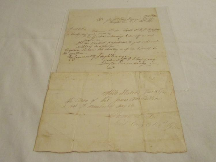 Group of 2 letters for Capt Clarence Linden, 2nd NJ Cavalry