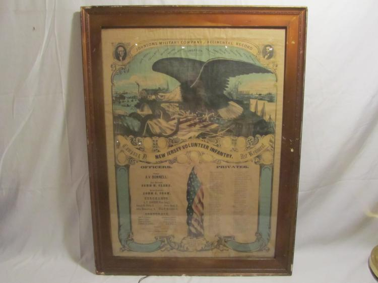 Framed Chromolithograph Johnsons Military Co - 31st Regiment Co. D