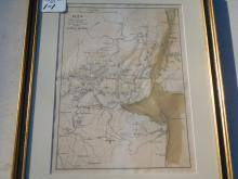 Framed Map - Plan of the Northern Part of NJ Showing Positions of American and British Armies