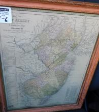 Framed colored map of New Jersey reduced from T Gordon's map, published by Thomas Cowperthwait and Co.