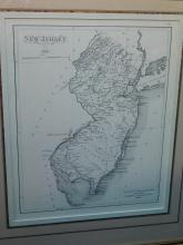 Framed map of New Jersey 1812 from Captain William Giberson's chart book, Toms River