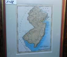 Framed map of New Jersey published by Thomas and Andrews, Boston circa 1795/6