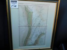 Framed map - plan of the country from Frog's Point to Croton River shewing the positions of the American and British Armies J Yeager