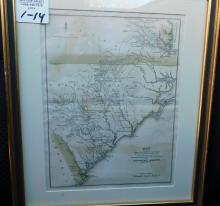 Framed map of part of Virginia, North Carolina, South Carolina and Georgia J Yeager