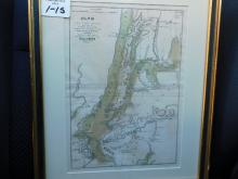 Framed map plan on New York Island and part of Long Island shewing the position of the American and British Armies J Yeager