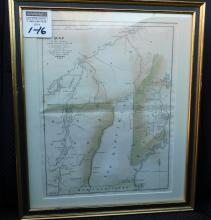 Framed map of the country which was the scene of operations of the Northern army including the Wilderness J Yeager