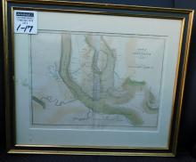 Framed map, plan of the siege of Charleston, South Carolina J Yeager