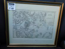 Framed map Boston with it's environs J Yeager