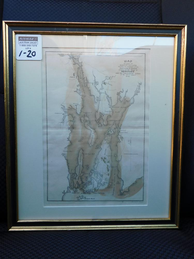 Framed map of part of Rhode Island shewing the positions of the American and British armies J Yeager
