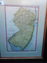 Framed map state of New Jersey engraved for Payne's Geographer