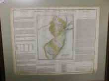 Framed map of New Jersey circa 1826, geographical statistical and historical map of New Jersey