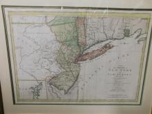 Framed map of the provinces of New York and New Jersey with a part of Pennsylvania and the province of Quebec