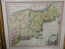 Framed map Nova Anglia Septentrionali Americae implantata Anglorumique coloniis florentissima
