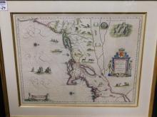 Framed hand colored map Nova Belgica et Anglia Nova