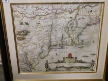 Framed map of early America Novi Belgii Novaeque Angliae Nec Non Partis Virginiae Tabula
