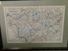 Framed map - topographical map of Hunterdon County and Somerset County NJ
