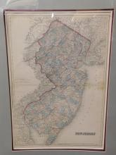Matted New Jersey map 1868 by GW and CB Colton and Co