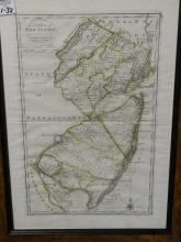 Framed map of the state of New Jersey compiled from the most authentic information, compiled by Samuel Lewis