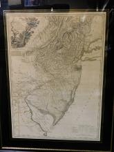 Framed map - province of NJ divided into east and west commonly called the Jerseys engraved by William Faden Charing Cross December 1, 1777