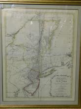 Framed map - mappa geographica provinciae novae eboraci ab anglis New York/Nova Jersey