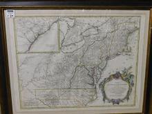 Framed map Partie De L'Amerique Septentrionale qui comprend Le Cours De L'Ohio,  La Nlle Angleterre La nlle York, Le New Jersey, La Pensylvanie, le Maryland La Virginnie La Caroline