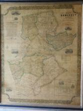 Framed map of Somerset County NJ entirely from original surveys by  J W Otley, Lloyd Van Derveer and James Keily