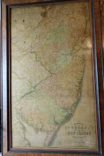 Framed Map of the State of New Jersey With Part of the Adjoining States By Thomas Gordon . . 1828