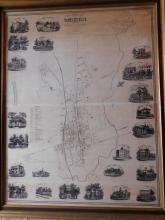 Framed map of Somerville, NJ - The Seat of Justice of Somerset County - Tho Hughes, 1857