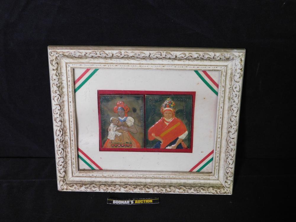 Pair of Framed Hungarian Tiles