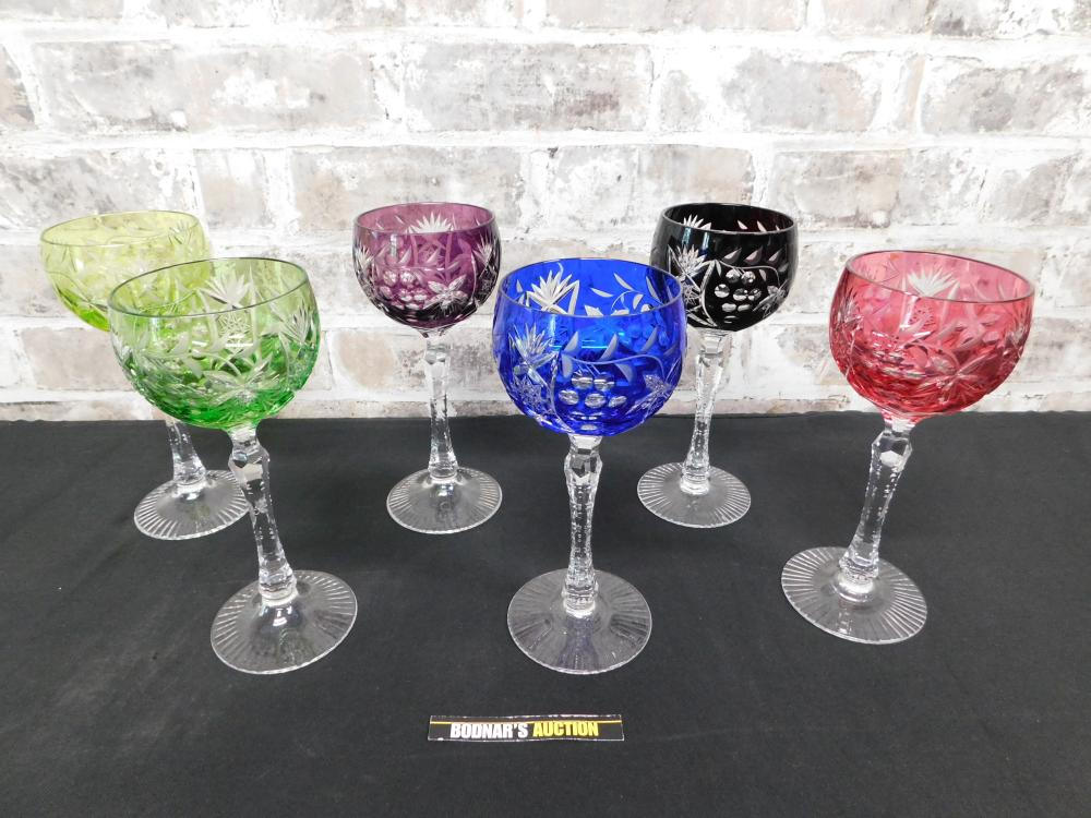 Lot of 6 Cut to Clear Wine Glasses
