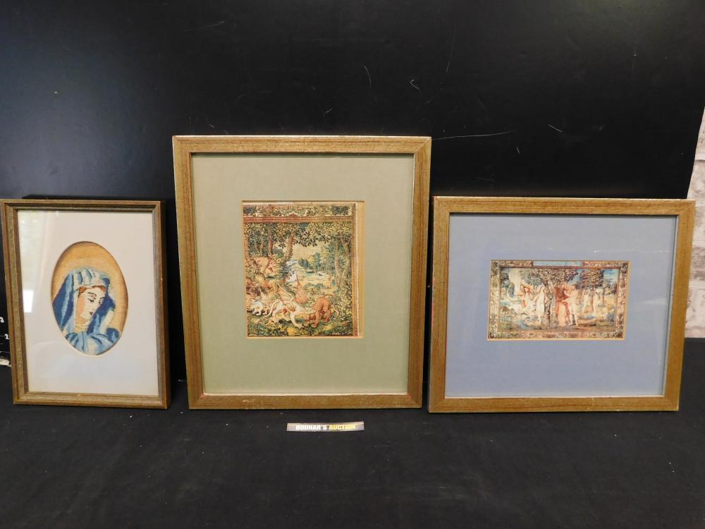 Lot of 3 Frames including Framed Vintage Tapestry of Madonna