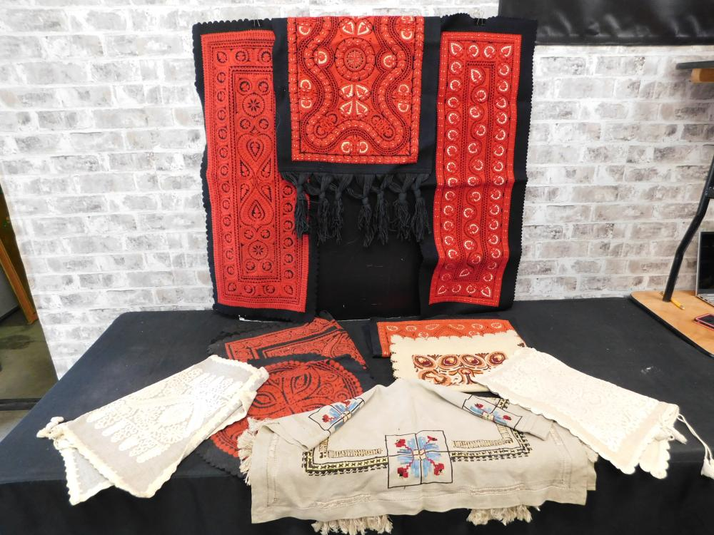 Large Lot of Hungarian Hand Made Tablecloths and Embroideries