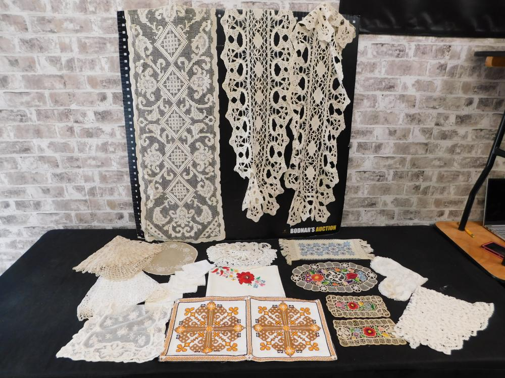 Large Lot of Hungarian Hand Embroidered Tablecloths and doilies