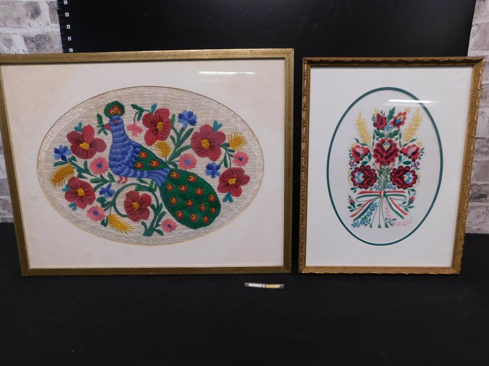 Lot of 2 Framed Hungarian Embroideries
