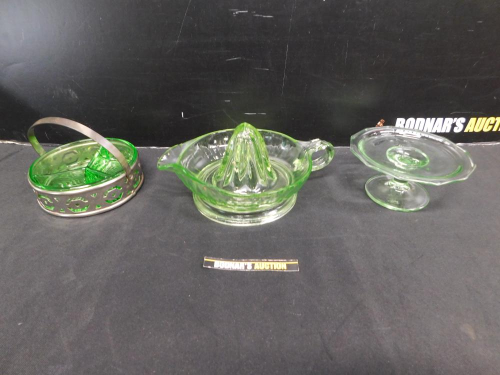 Lot of 3 Pieces of Green Depression Glass