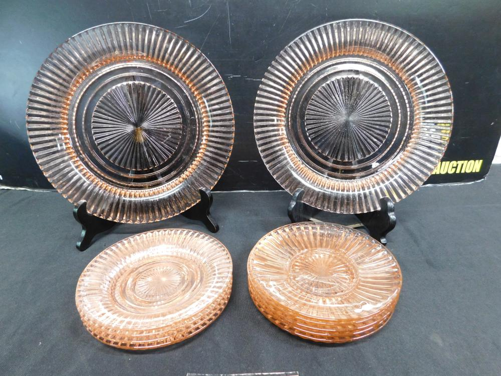 Lot of 11 Pink Depression Glass Plates