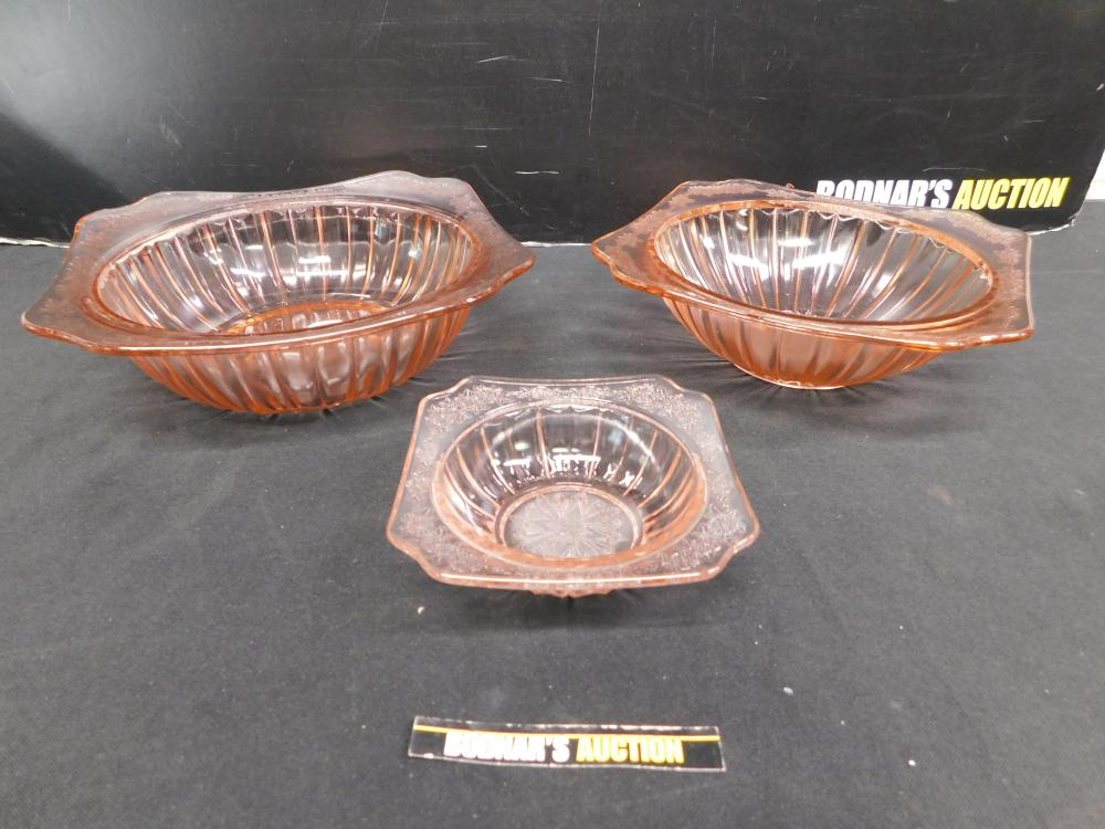 Lot of 3 Pink Floral Square Edged Depression Glass Bowls