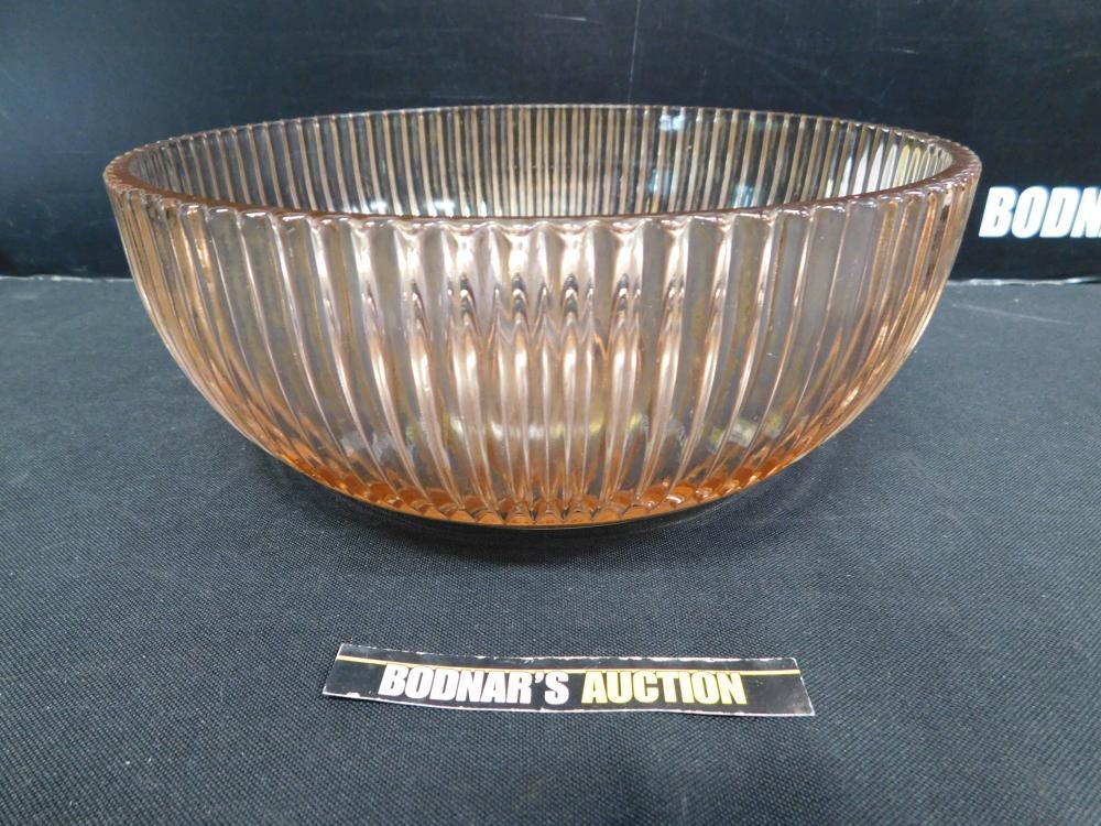Pink Depression Glass Ribbed Center Bowl
