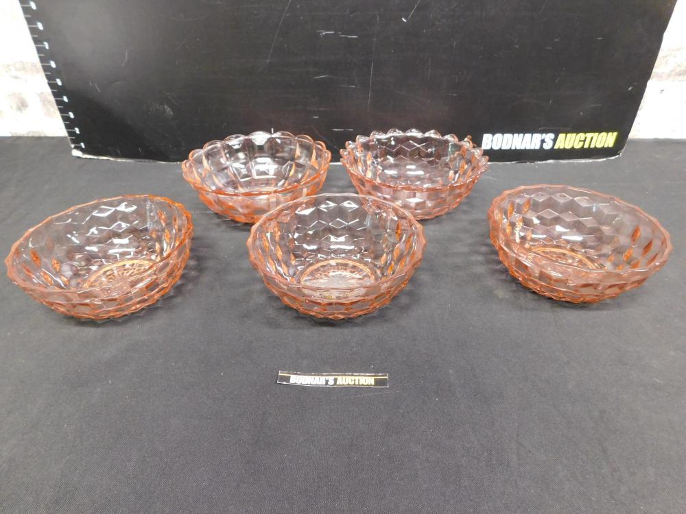 Lot of 5 Pink Depression Glass Bowls
