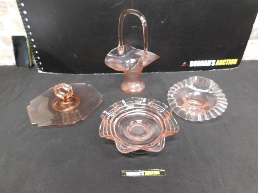 Lot of 4 Pink Depression Glass Dishes
