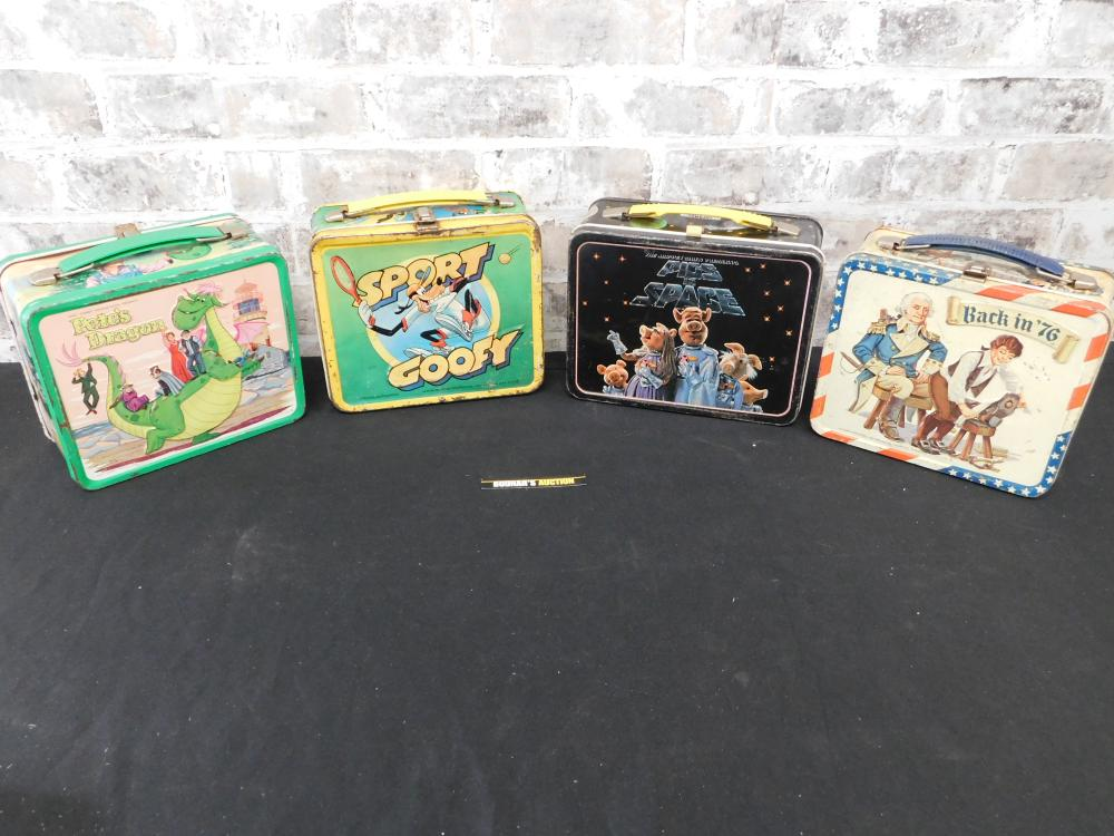 Lot of 4 Vintage Tin Lunchboxes
