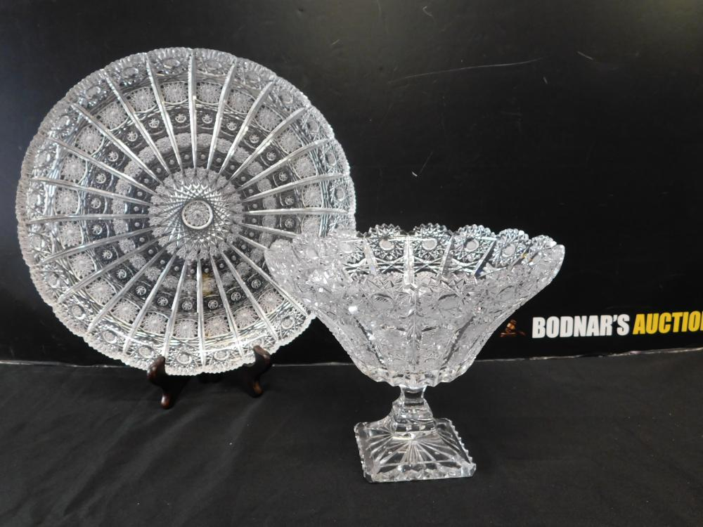 Cut Crystal Pedestal Bowl with Plate