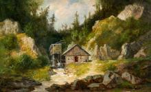 Telepy Károly (1828-1906): Landscape with mountains, 1893