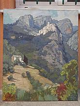 """Edouard PLANCHAIS (Actif XXe siècle) """"Peillon"""" Huile sur toile Signée en"""