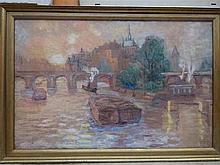 Marthe VAN DERYKEN (1892-1981) Ile de la Cité à Paris Huile sur toile Ca