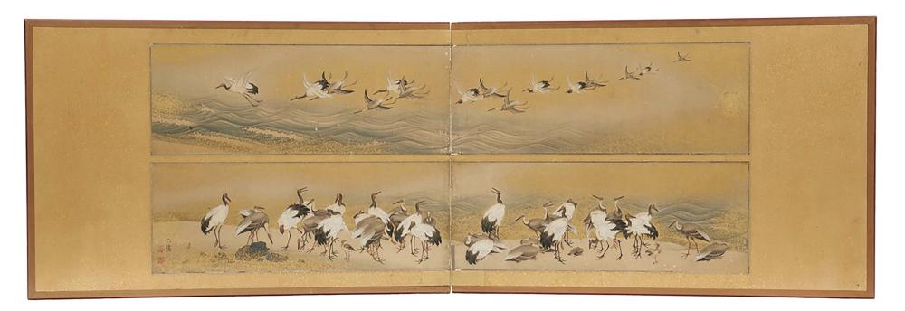 Two panel byobu screen for the tearoom with two paintings of crane birds on