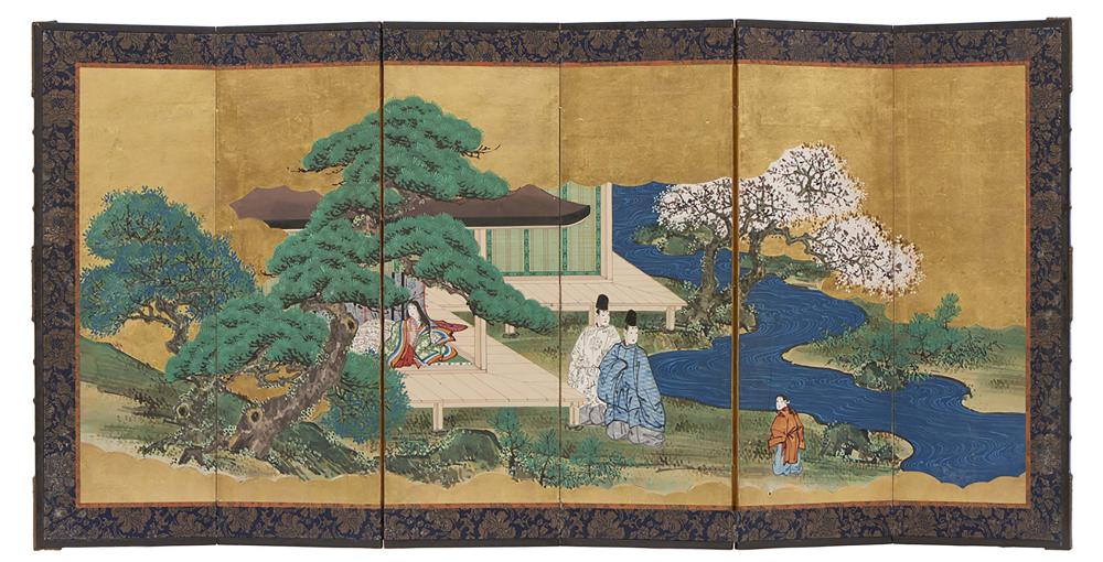 Set of two six panel anonymous hinagata byobu screens for the doll festival