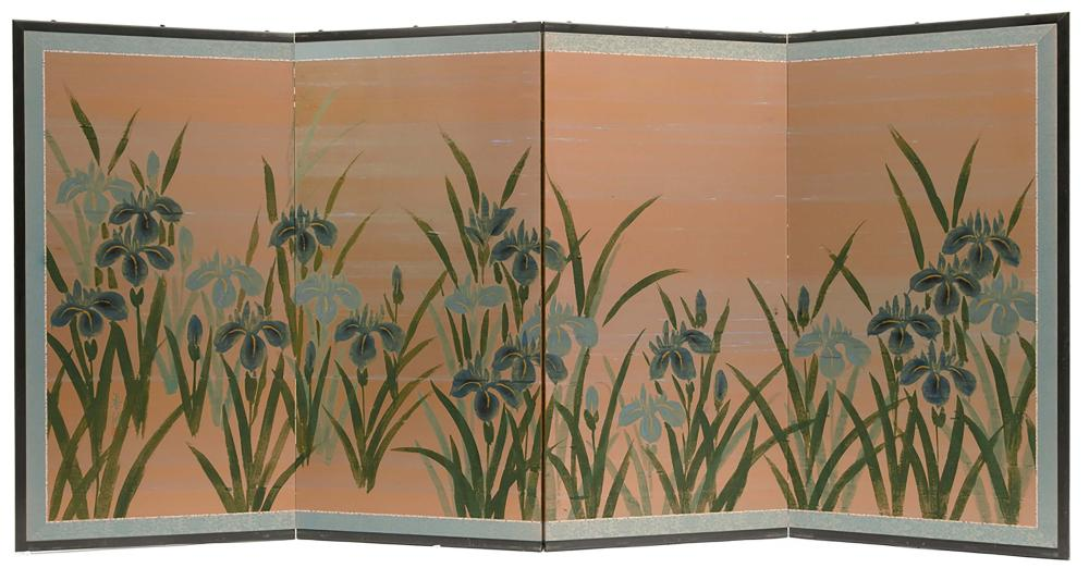 A signed four-panel roomdivider (byobu), hand-painted and with irises (hana